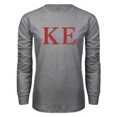 Grey Long Sleeve T Shirt-Greek Letters Glitter
