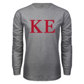 Grey Long Sleeve T Shirt-One Color Greek Letters
