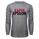 Grey Long Sleeve T Shirt-Kappa Epsilon Stacked
