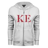 ENZA Ladies White Fleece Full Zip Hoodie-Greek Letters Glitter