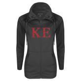 Ladies Sport Wick Stretch Full Zip Charcoal Jacket-Greek Letters Glitter