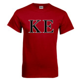 Cardinal T Shirt-Two Color Greek Letters