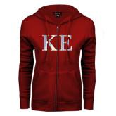 ENZA Ladies Cardinal Fleece Full Zip Hoodie-Greek Letters Foil