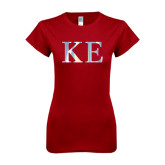 Next Level Ladies SoftStyle Junior Fitted Cardinal Tee-Greek Letters Foil