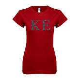 Next Level Ladies SoftStyle Junior Fitted Cardinal Tee-Greek Letters Glitter
