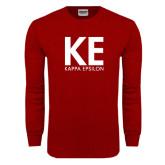 Cardinal Long Sleeve T Shirt-KE Kappa Epsilon Stacked