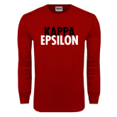 Cardinal Long Sleeve T Shirt-Kappa Epsilon Stacked