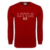 Cardinal Long Sleeve T Shirt-Block Letters w/ Pattern Little