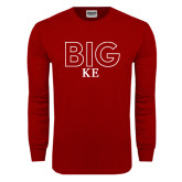Cardinal Long Sleeve T Shirt-Block Letters w/ Pattern Big