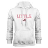 White Fleece Hoodie-Block Letters w/ Pattern Little