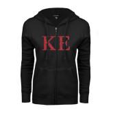 ENZA Ladies Black Fleece Full Zip Hoodie-Greek Letters Glitter