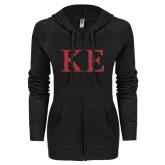 ENZA Ladies Black Light Weight Fleece Full Zip Hoodie-Greek Letters Glitter