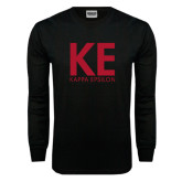 Black Long Sleeve T Shirt-KE Kappa Epsilon Stacked