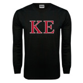Black Long Sleeve T Shirt-Two Color Greek Letters