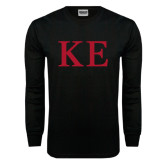 Black Long Sleeve T Shirt-One Color Greek Letters