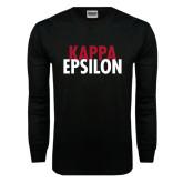 Black Long Sleeve T Shirt-Kappa Epsilon Stacked
