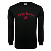 Black Long Sleeve T Shirt-Arched Script