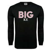 Black Long Sleeve T Shirt-Block Letters w/ Pattern Big
