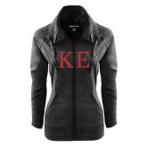 Ladies Sport Wick Stretch Full Zip Black Jacket-Greek Letters Glitter