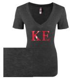 Next Level Ladies Vintage Black Tri Blend V Neck Tee-Greek Letters Foil