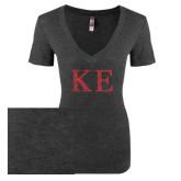 Next Level Ladies Vintage Black Tri Blend V Neck Tee-Greek Letters Glitter