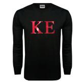 Black Long Sleeve T Shirt-Greek Letters Foil