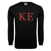 Black Long Sleeve T Shirt-Greek Letters Glitter