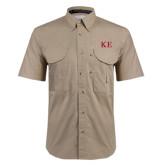 Khaki Short Sleeve Performance Fishing Shirt-One Color Greek Letters