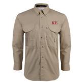 Khaki Long Sleeve Performance Fishing Shirt-One Color Greek Letters