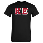 Black T Shirt-Greek Letters Tackle Twill