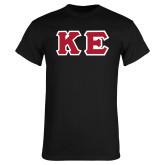 Black T Shirt-Greek Letters Tackle Twill