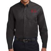 Black Twill Button Down Long Sleeve-One Color Greek Letters