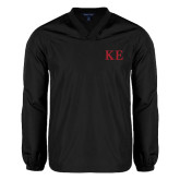 V Neck Black Raglan Windshirt-One Color Greek Letters