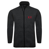 Black Heather Fleece Jacket-One Color Greek Letters