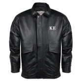 Black Leather Bomber Jacket-One Color Greek Letters