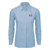 Ladies Light Blue Oxford Shirt-One Color Greek Letters