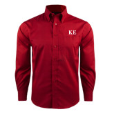 Red House Red Long Sleeve Shirt-One Color Greek Letters