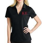 Ladies Nike Golf Dri Fit Black Micro Pique Polo-One Color Greek Letters