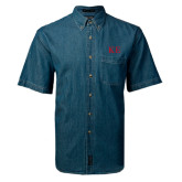 Denim Shirt Short Sleeve-One Color Greek Letters