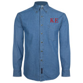 Denim Shirt Long Sleeve-One Color Greek Letters