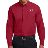 Cardinal Twill Button Down Long Sleeve-One Color Greek Letters