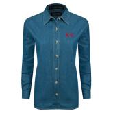 Ladies Denim Long Sleeve Shirt-One Color Greek Letters