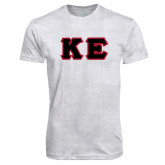 Next Level Heather White Tri Blend Crew-Greek Letters Tackle Twill