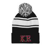 Black/White Two Tone Knit Pom Beanie w/Cuff-Two Color Greek Letters