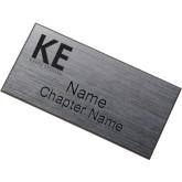 Brushed Silver w/ Black Name Badge-KE Kappa Epsilon Stacked Engraved