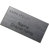 Brushed Silver w/ Black Name Badge-Kappa Epsilon Word Mark Engraved