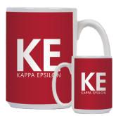 Full Color White Mug 15oz-KE Kappa Epsilon Stacked