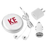3 in 1 White Audio Travel Kit-KE Kappa Epsilon Stacked