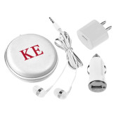 3 in 1 White Audio Travel Kit-One Color Greek Letters