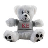 Plush Big Paw 8 1/2 inch White Bear w/Grey Shirt-Two Color Greek Letters